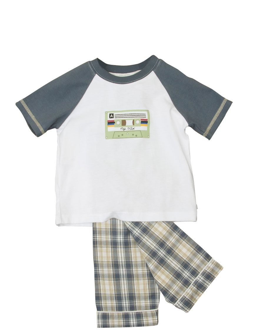 Boy`s short sleeve lounge cassette motif pyjamas