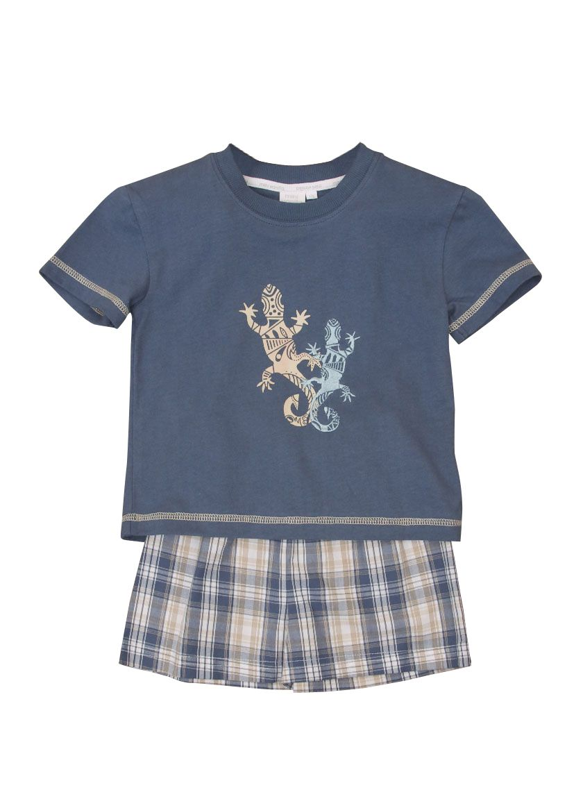 Boy`s shortie lizard motif pyjamas