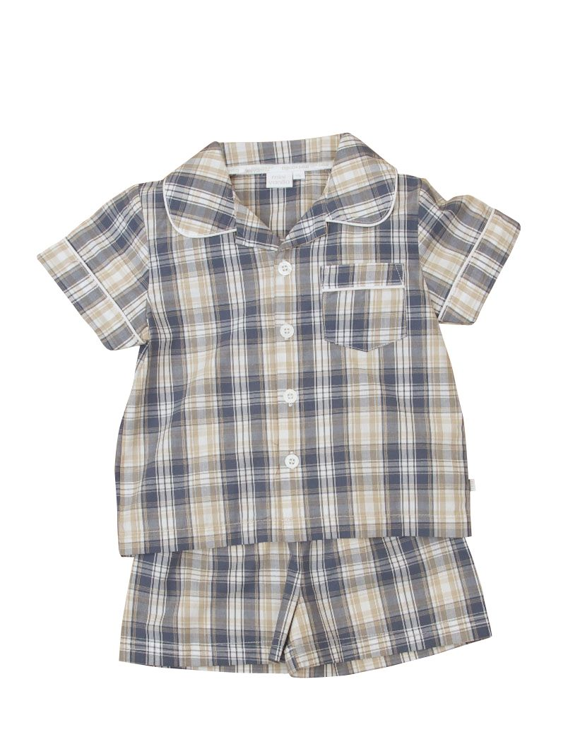 Boy`s traditional woven check shortie pyjamas
