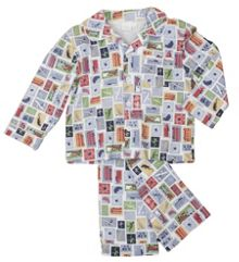 Boy`s jersey traditional printed pyjamas with mat