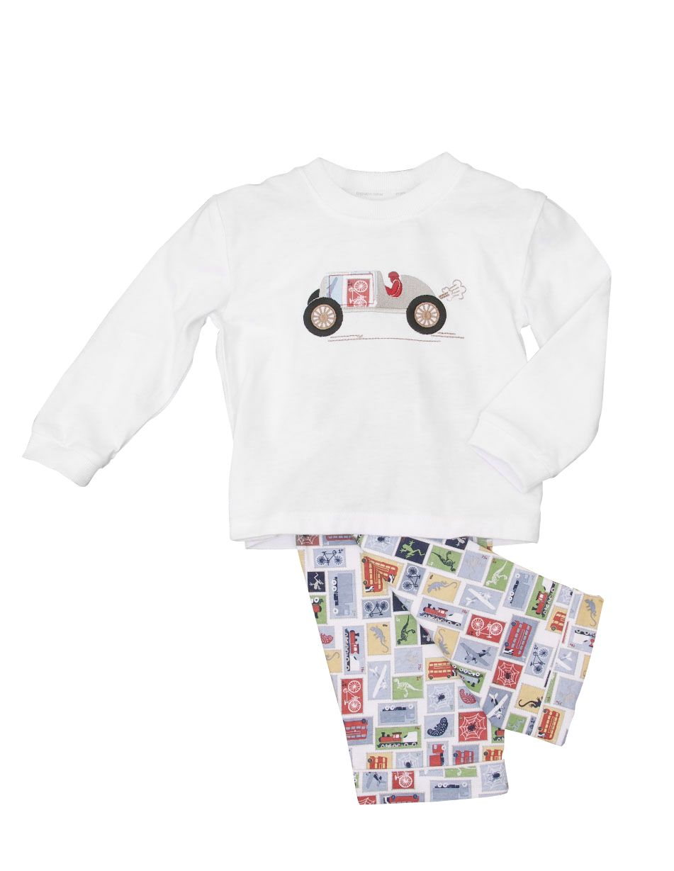 Boy`s lounge long sleeve car motif pyjamas