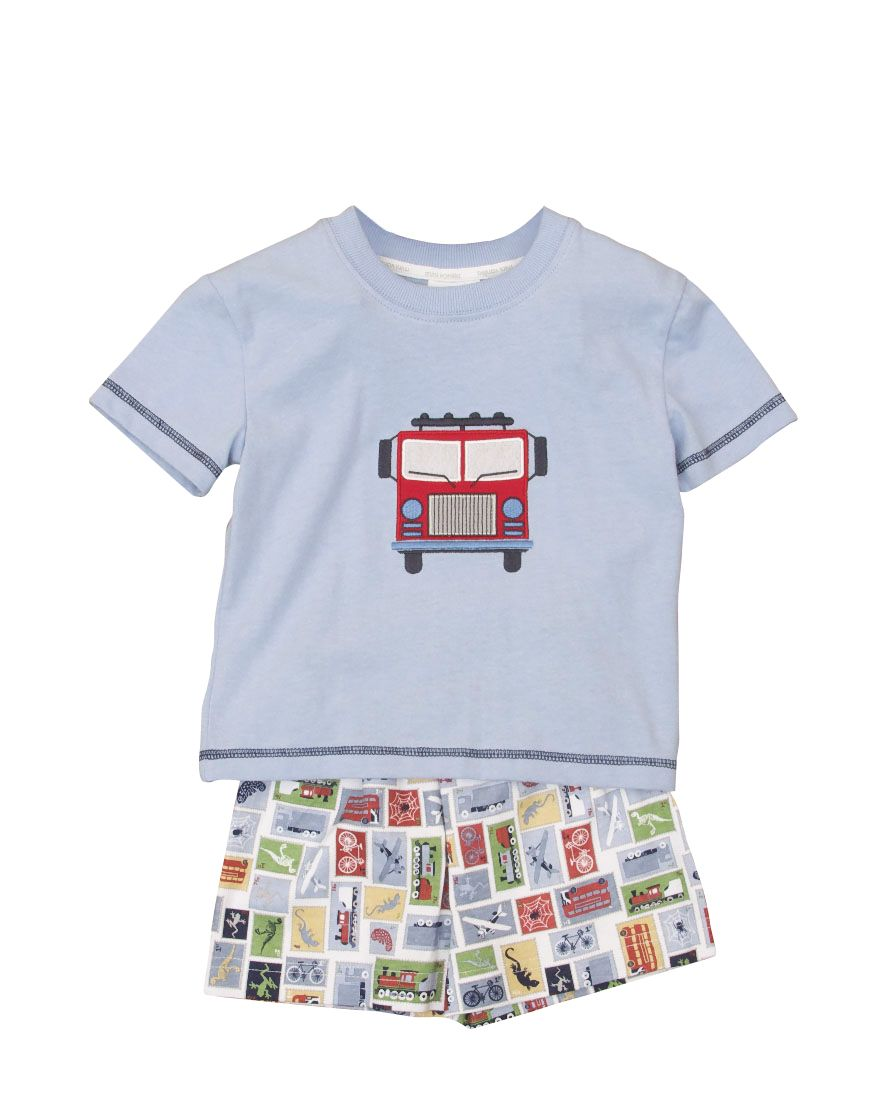 Boy`s shortie jersey fire engine motif pyjamas