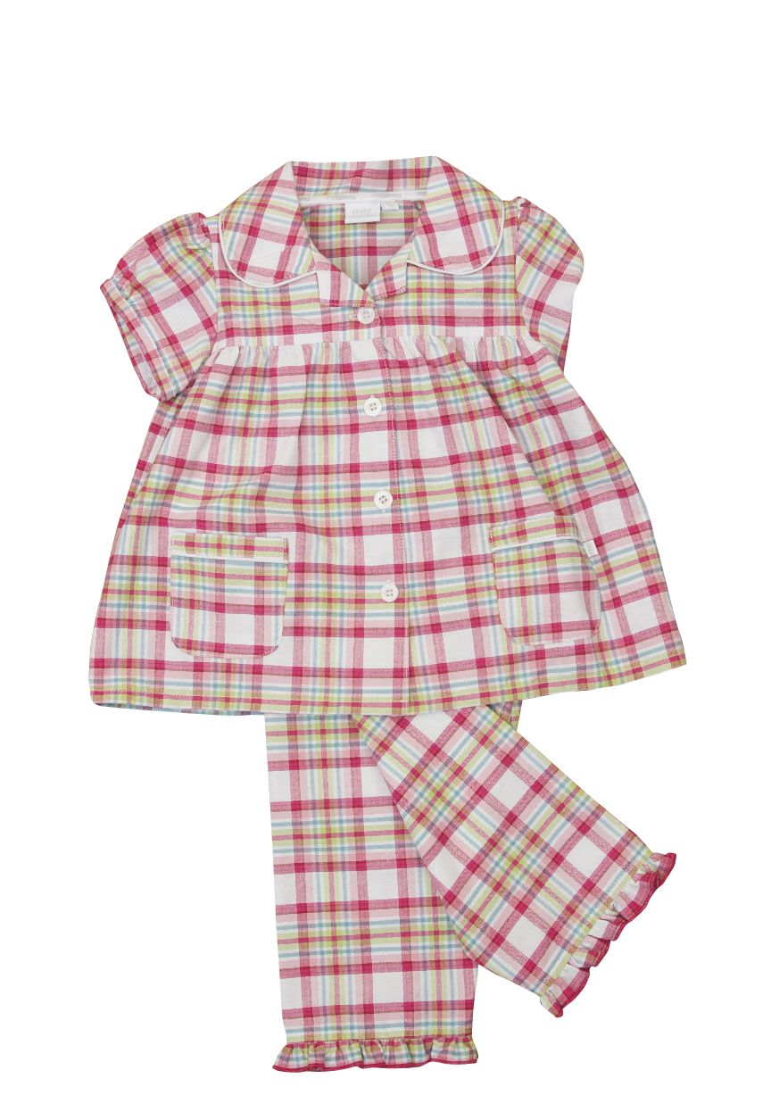 Girl`s woven check traditional pyjamas with match