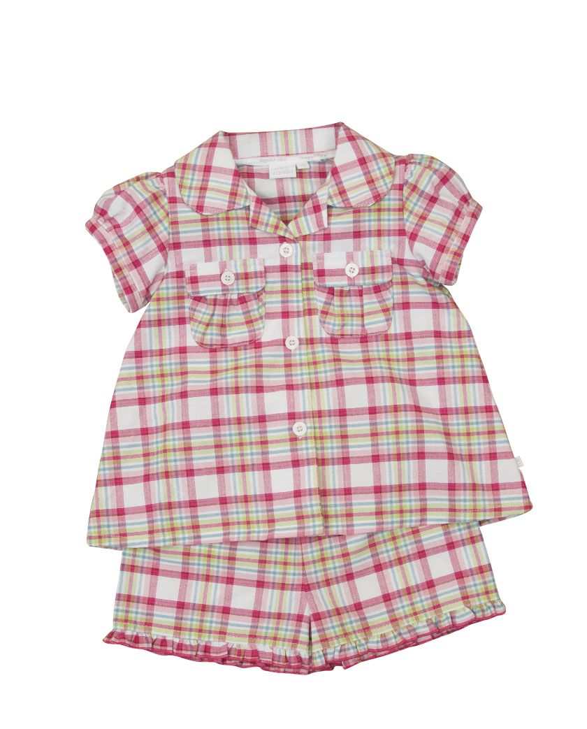 Girl`s traditional woven check shortie pyjamas