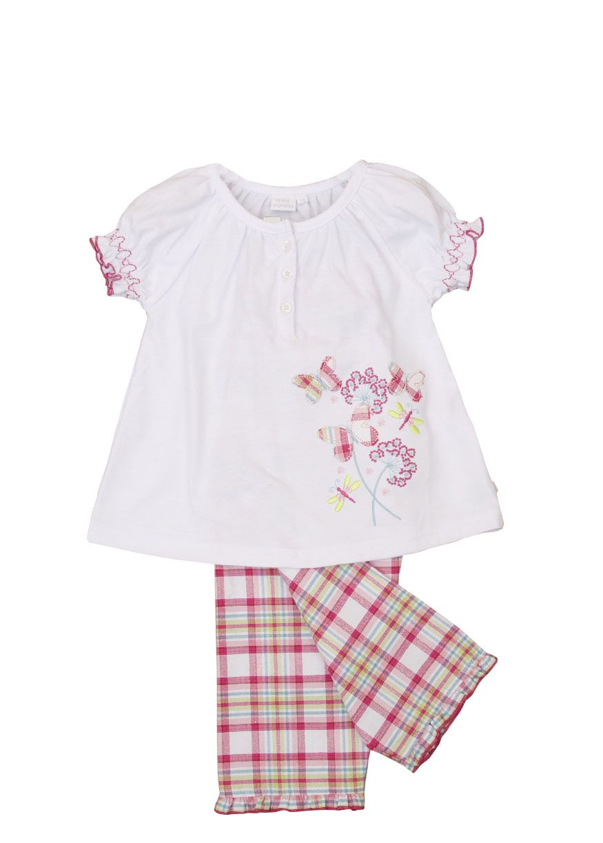 Girl`s lounge pyjamas with butterfly applique