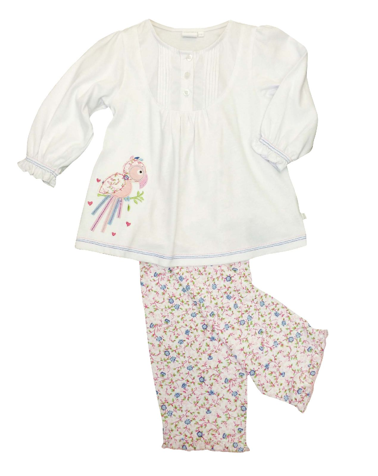 Girl`s jersey lounge pyjamas with parrot applique