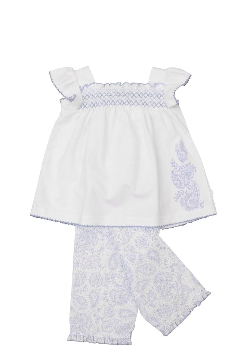 Girl`s lounge pyjamas paisley print with smocking