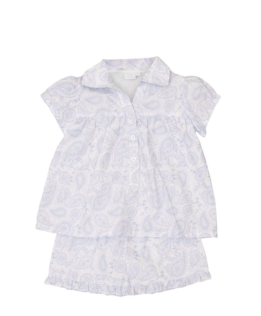 Girl`s traditional paisley print summer woven pyj