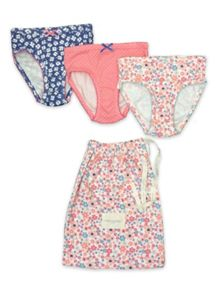 Girls 3 pack printed knickers with matching bag