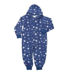 Boys fleece hooded zip print onesie