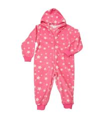 Girls fleece hooded zip print onesie