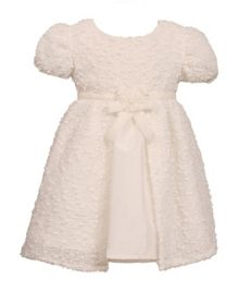 Girls short sleeve boucle dress
