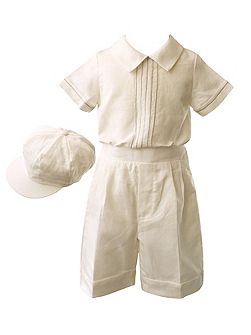 Boys linen short set with cap