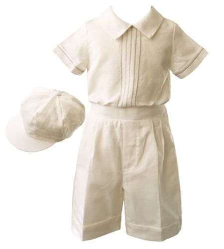 Heritage Boys linen short set with cap