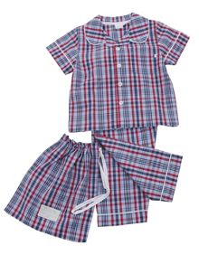 Mini Vanilla Boys Traditional Check Summer Pyjamas.