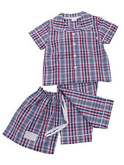 Boys Traditional Check Summer Pyjamas.