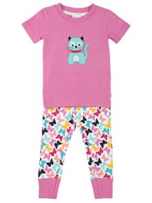 Mini Vanilla Girls Cat Comfy Fit Pyjamas