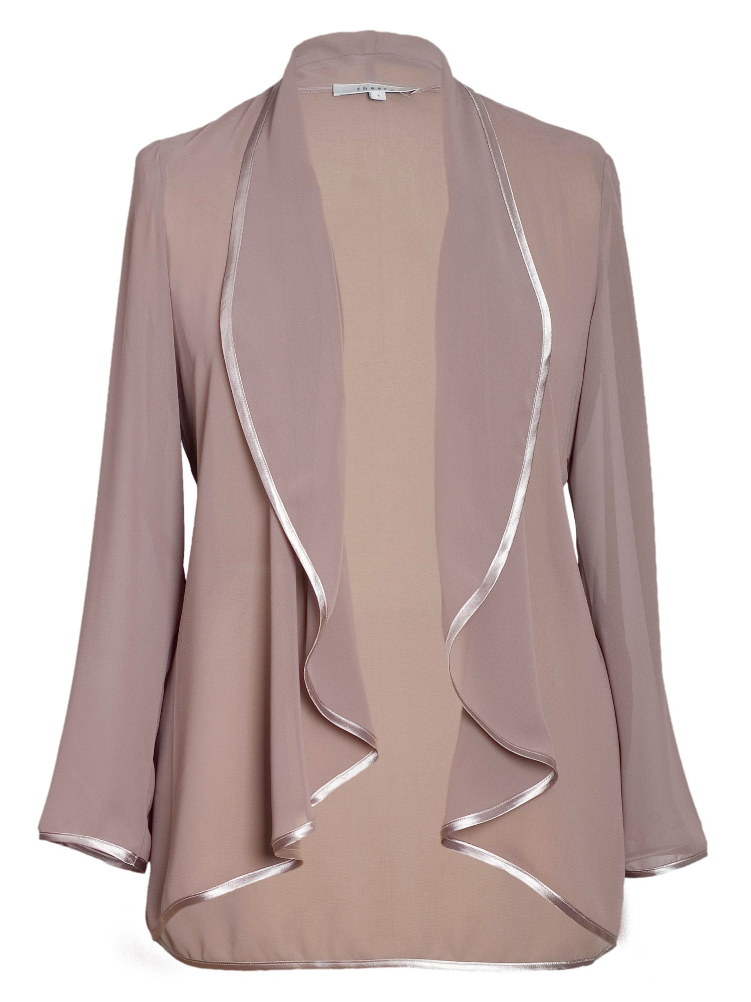 Satin trim chiffon jacket