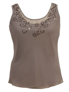 Plus Size Mesh/bead/applique trim camisole
