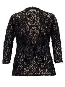 Lace jacket with cornelli embroidered trim