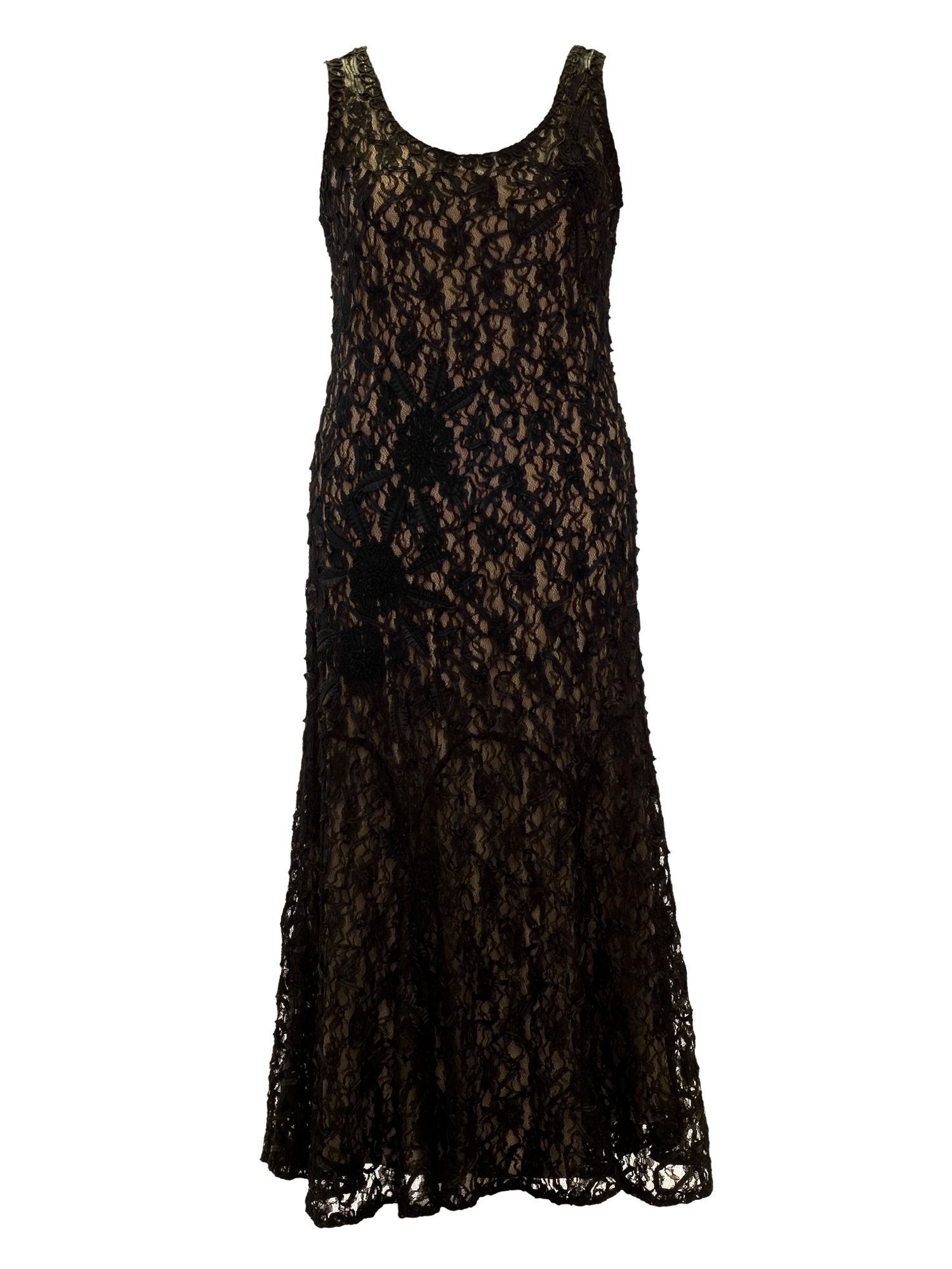 Lace cornelli embroidered dress with champagne li