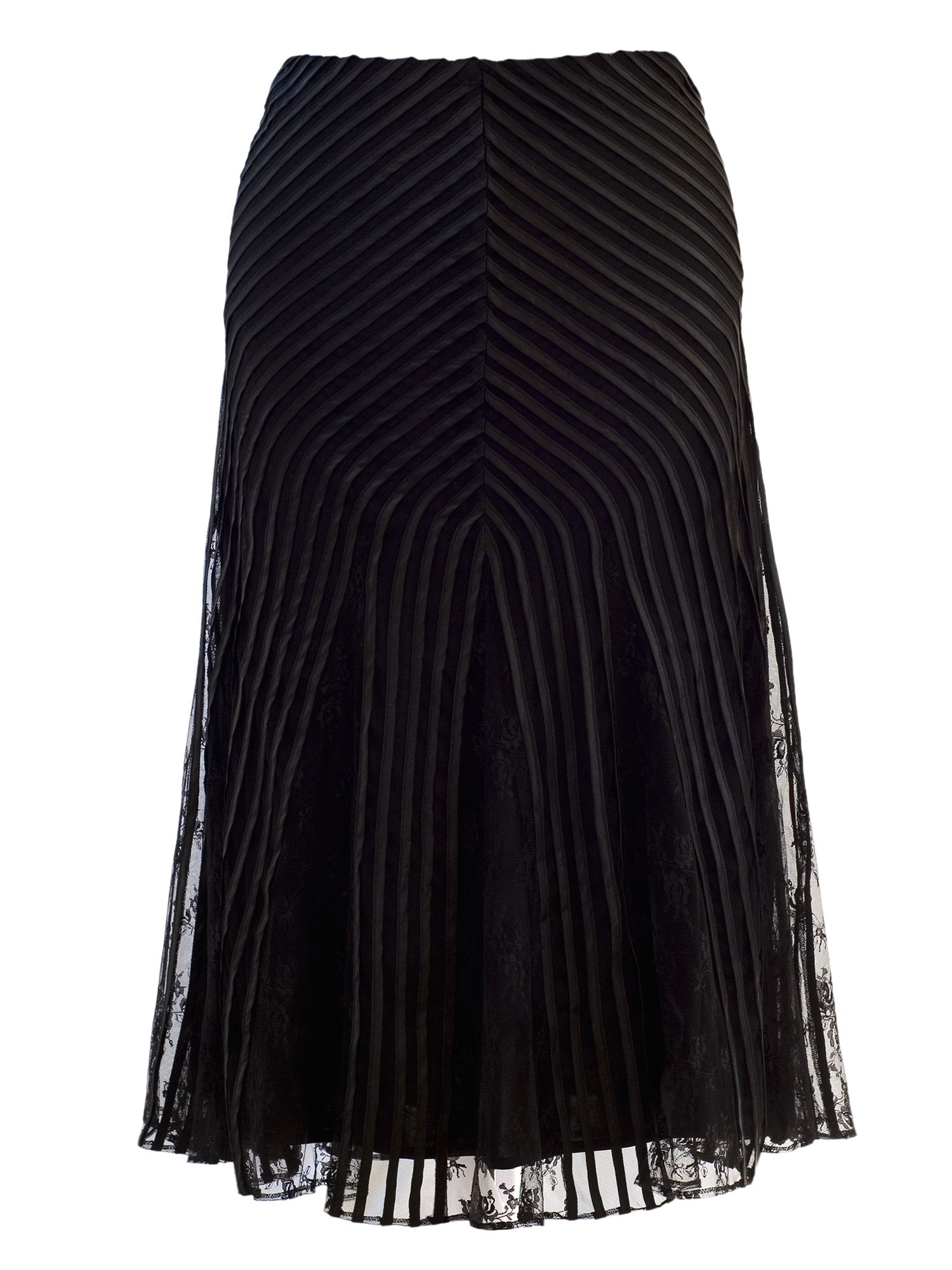 Stripy trim mesh skirt with lace godets