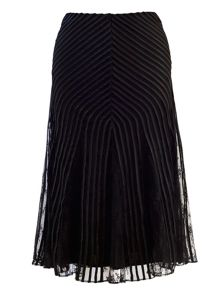 Plus Size Stripy trim mesh skirt with lace godets