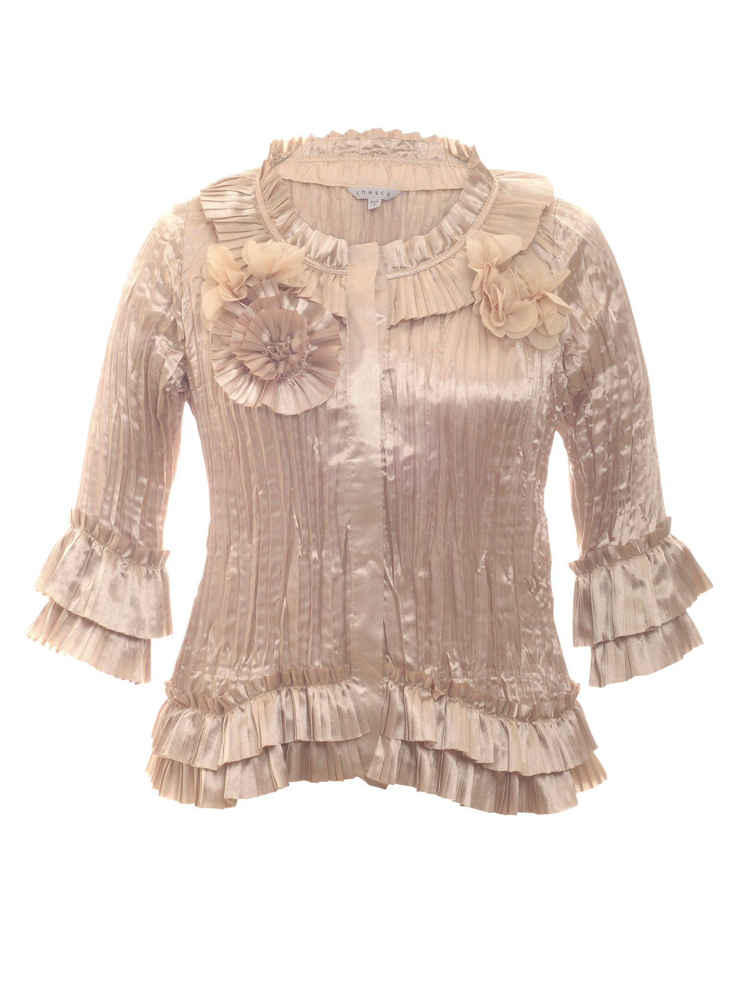 Pleated rosette trim blouse