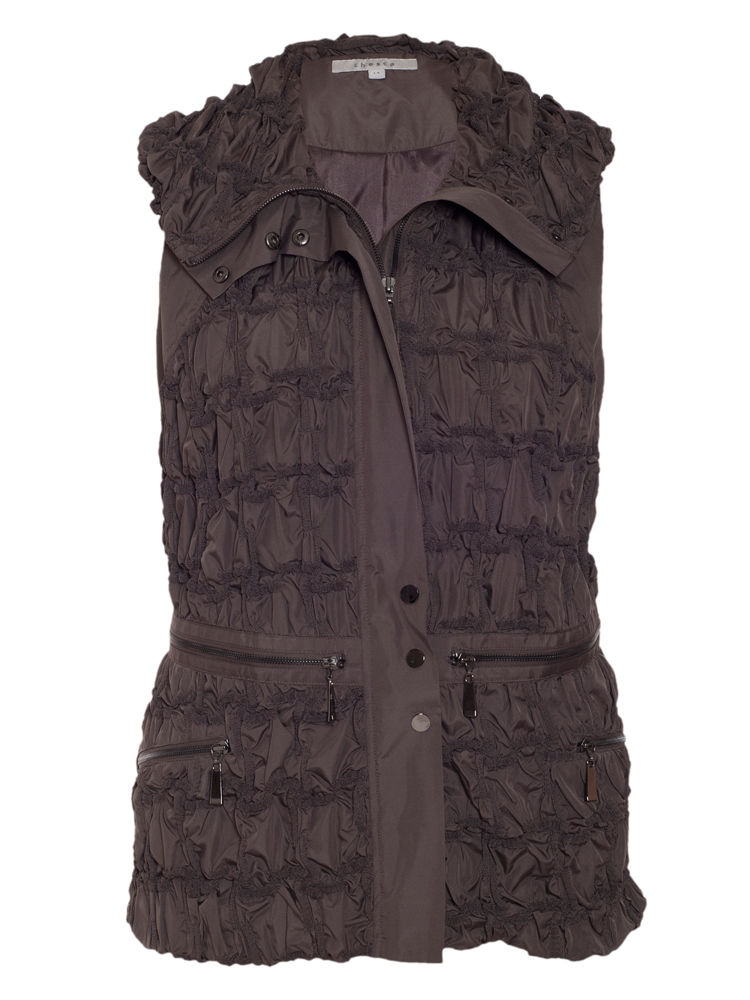 Zip detail embroidered gilet