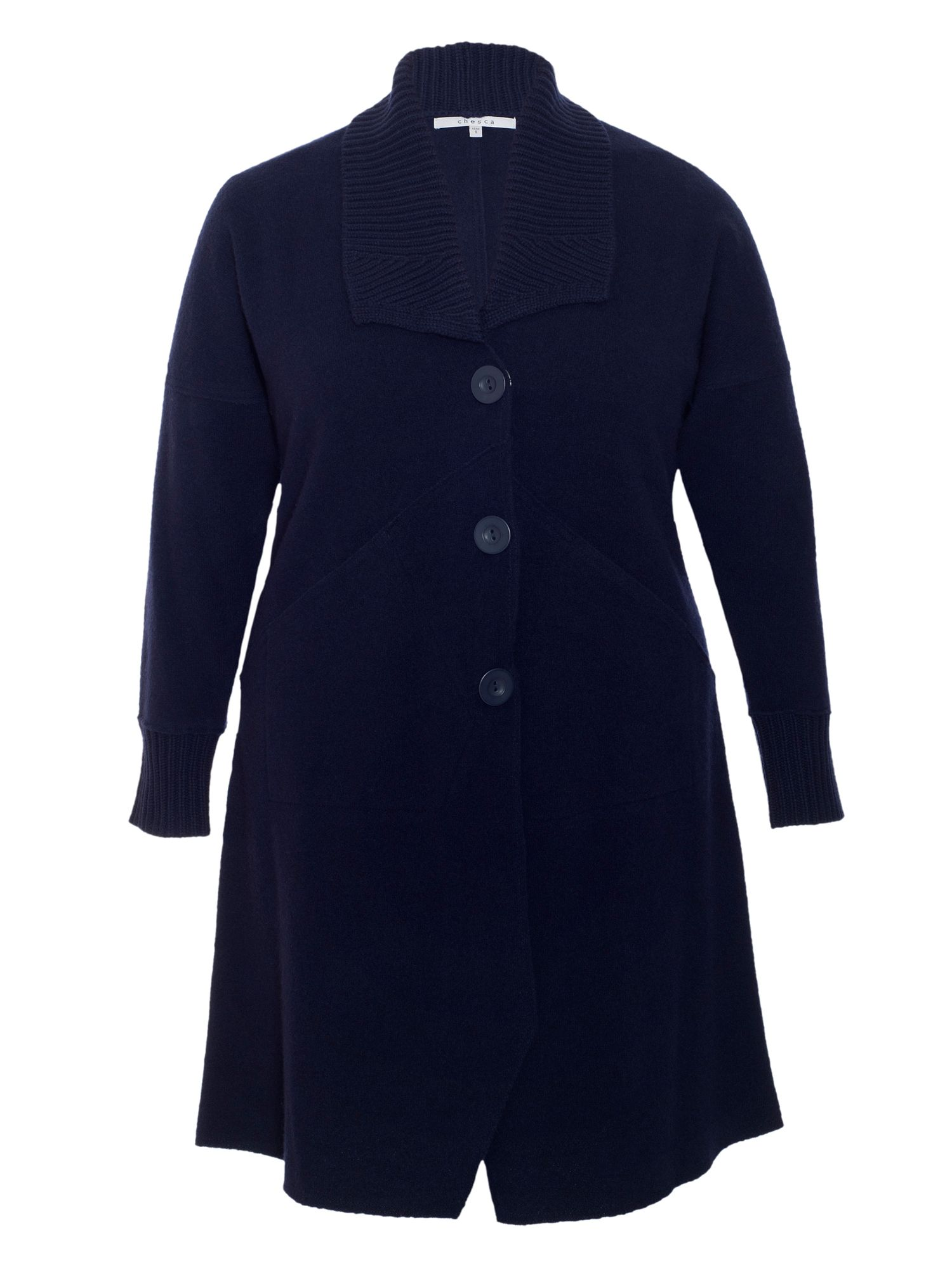Ribbed Collar Boiled Wool Coat