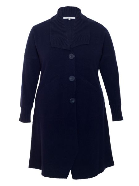 Chesca Ribbed Collar Boiled Wool Coat