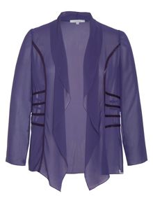 Chesca Plus Size Satin Trimmed Waterfall Shrug