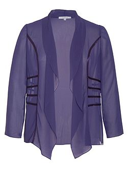 Plus Size Satin Trimmed Waterfall Shrug