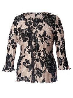 Chesca Rose Print Crush Pleated Satin Top