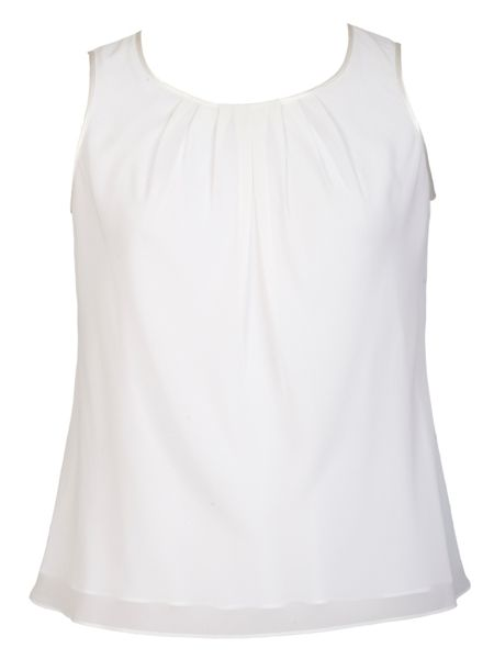 Chesca Plus Size Satin trimmed tuck detail camisole