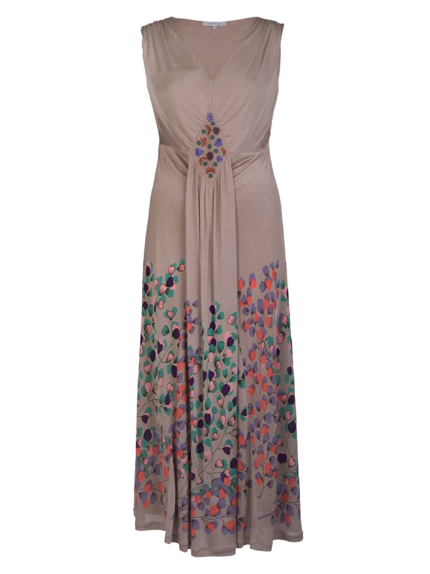 Border print jersey maxi dress