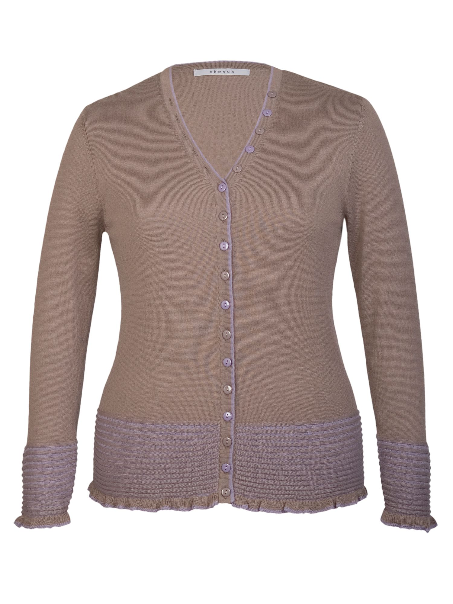 Cardigan with two-tone collar