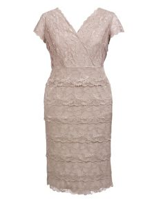 Chesca Plus Size Layered lace dress