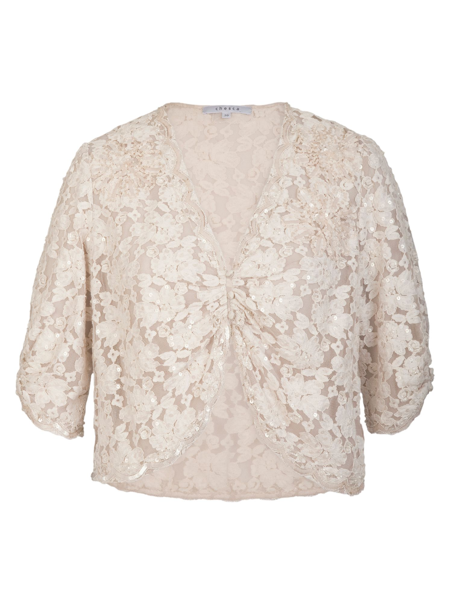Chesca Ivory Beaded Lace Bolero, Cream