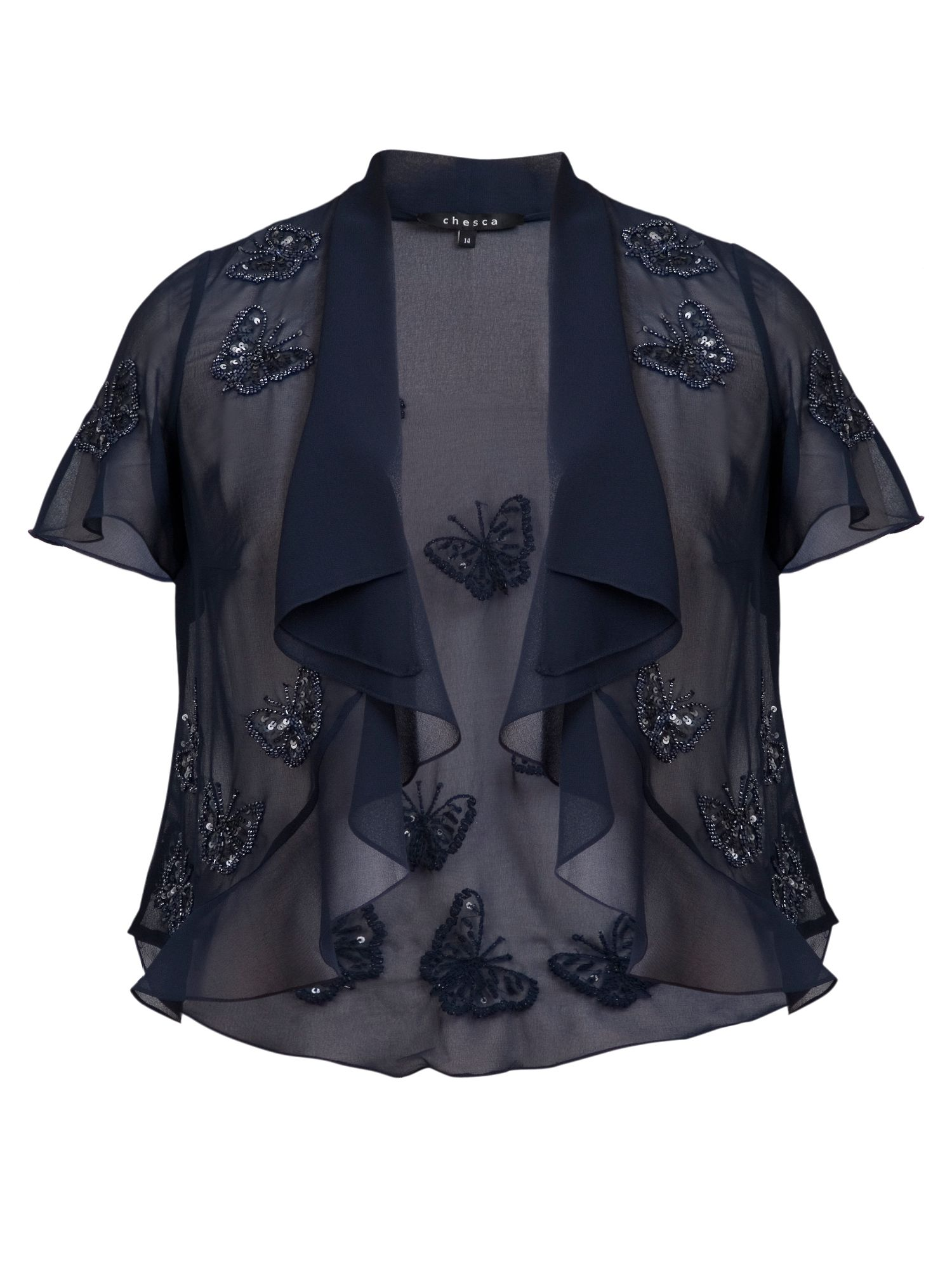 Butterfly beaded chiffon jacket