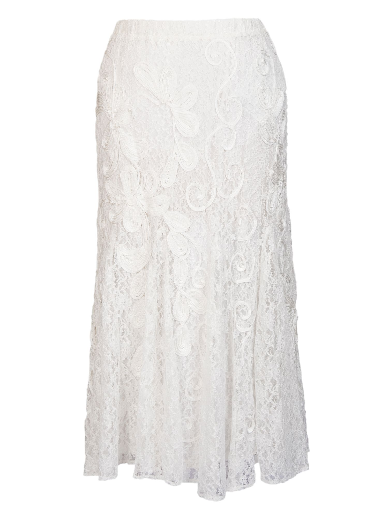 Cornelli trimmed lace skirt