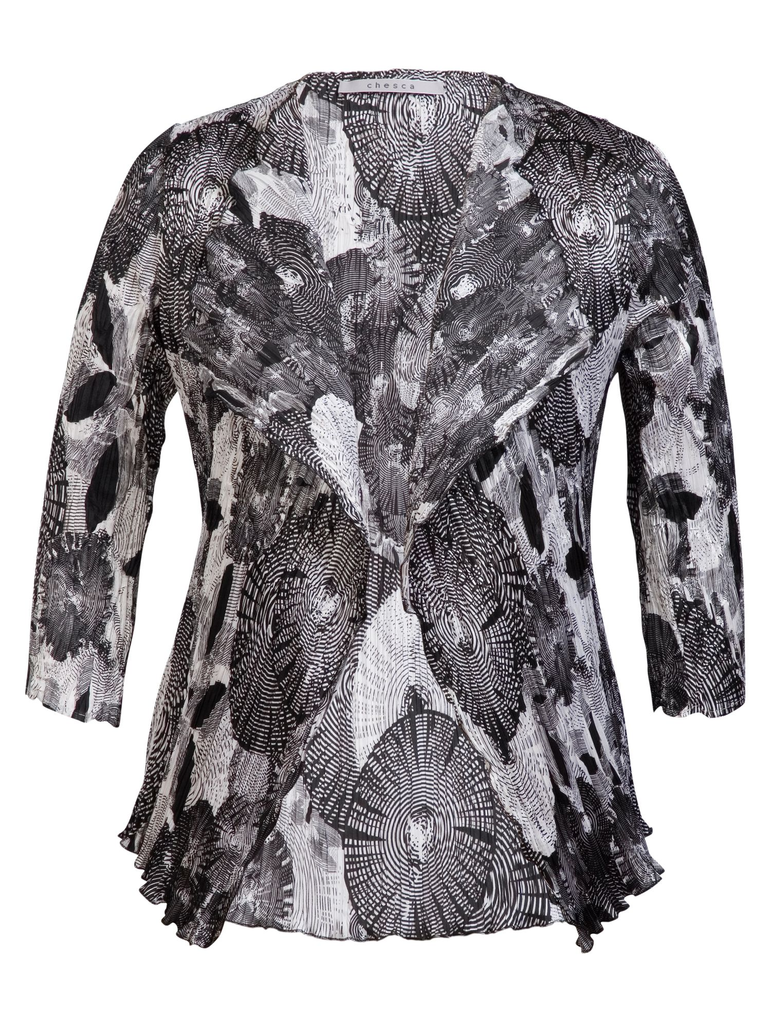 Abstract print sateen crush pleat shrug