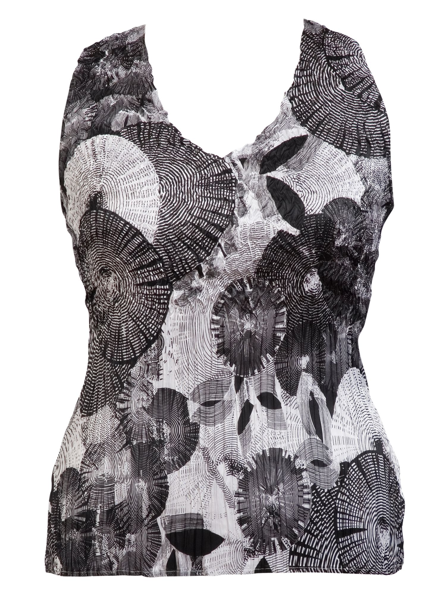 Abstract print sateen crush pleat camisole