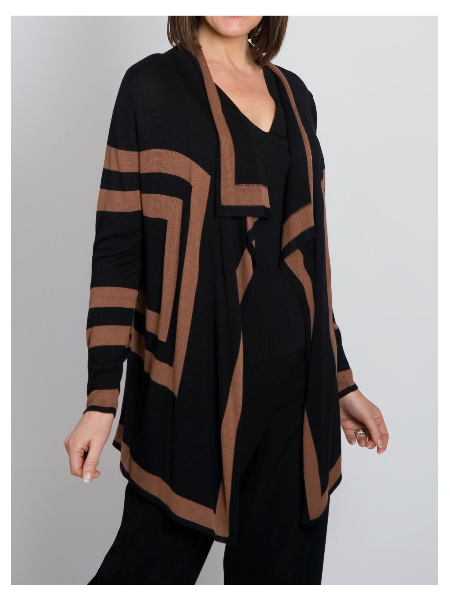 Block stripe waterfall cardigan