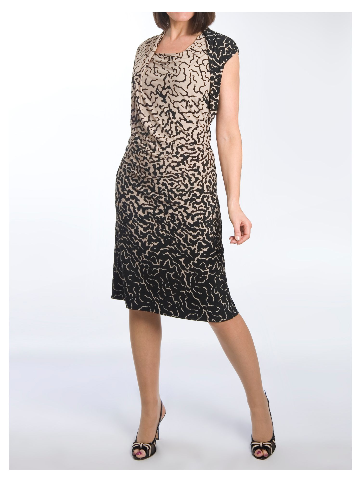 Asymmetric Border Print Jersey Dress