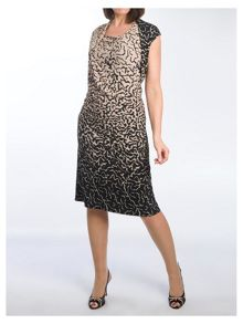 Plus Size Asymmetric Border Print Jersey Dress