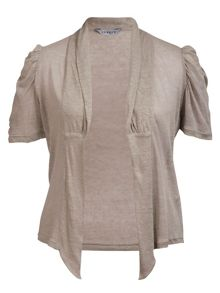 Ruched detail linen cardigan