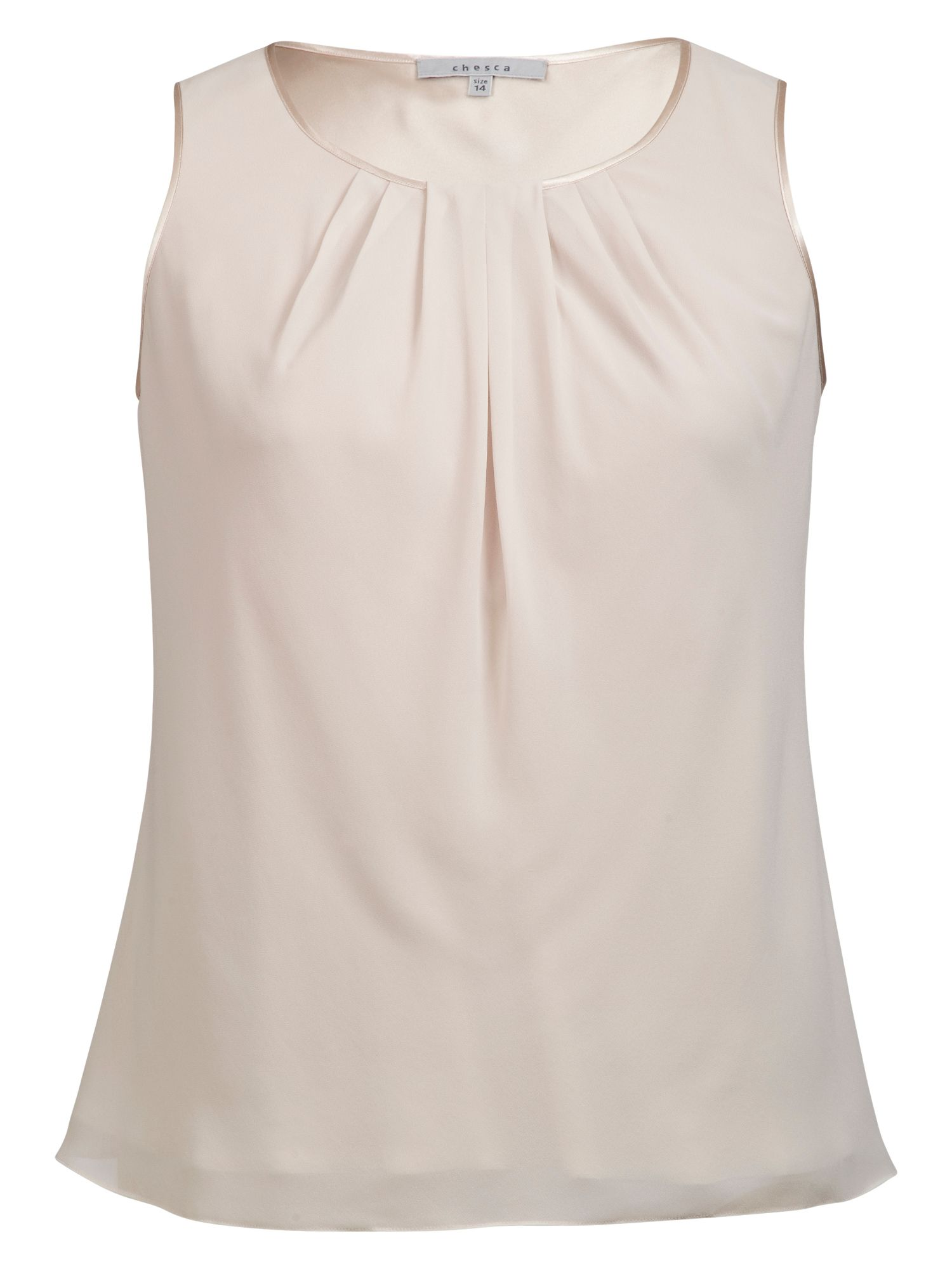 Satin trimmed tuck detail camisole