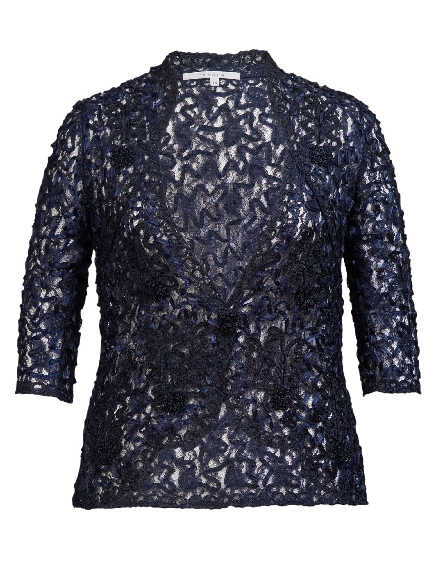 Chesca Cornelli trimmed lace jacket, Blue