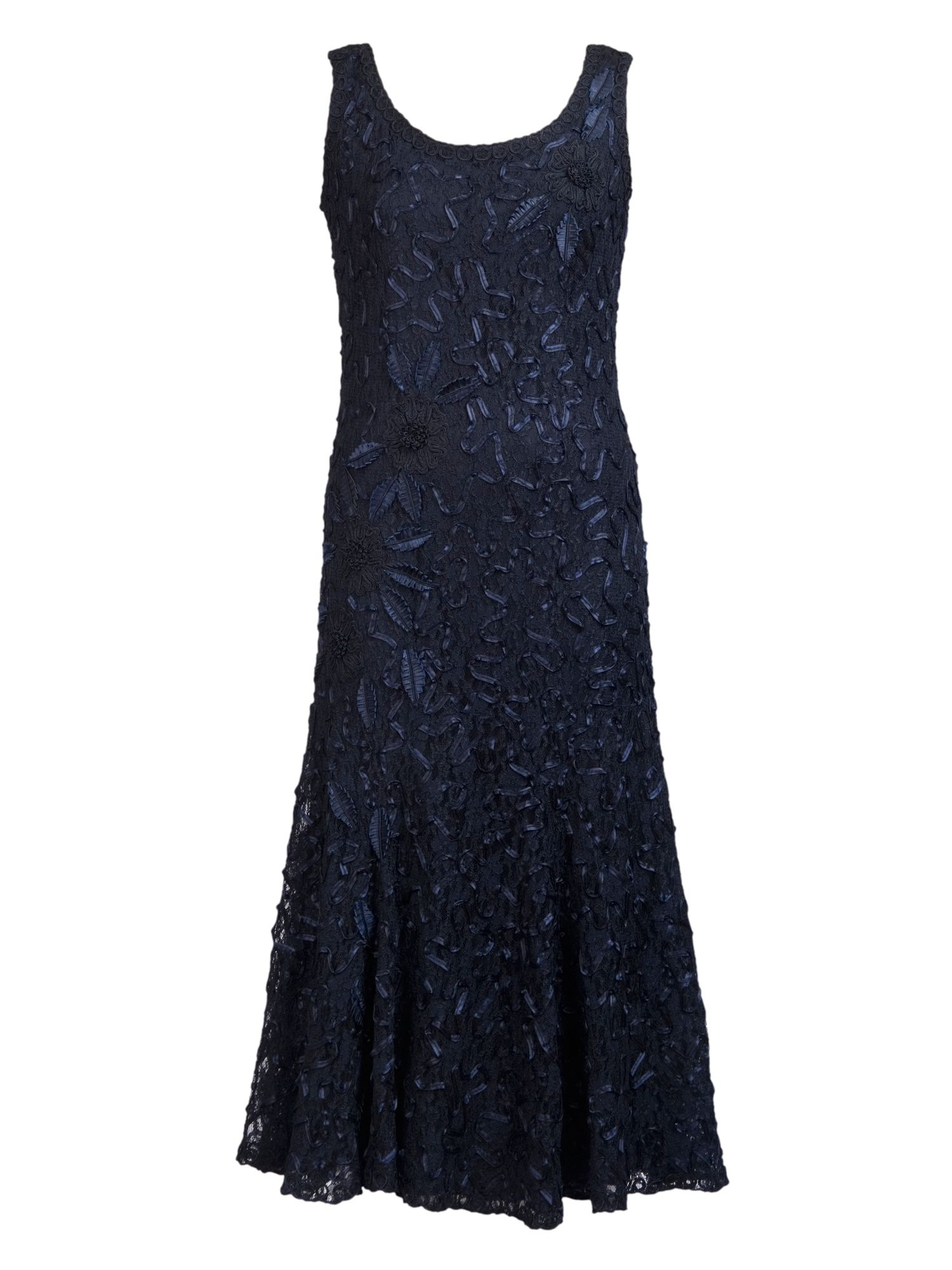 Chesca Plus Size Navy Lace Cornelli Dress, Blue
